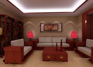 中式客厅实木茶几效果图