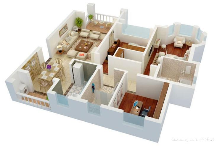 现代简约三室两厅两卫3D装修效果图