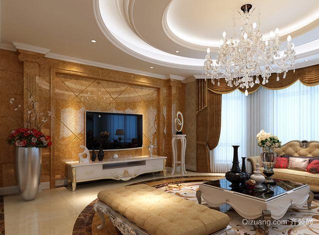 欧式简约现代精美风格客厅背景墙装修图