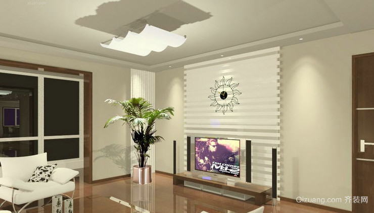 现代简约风格客厅电视背景墙效果图