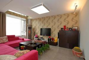 120平米三室一厅简约时尚客厅电视背景墙装修效果图欣赏