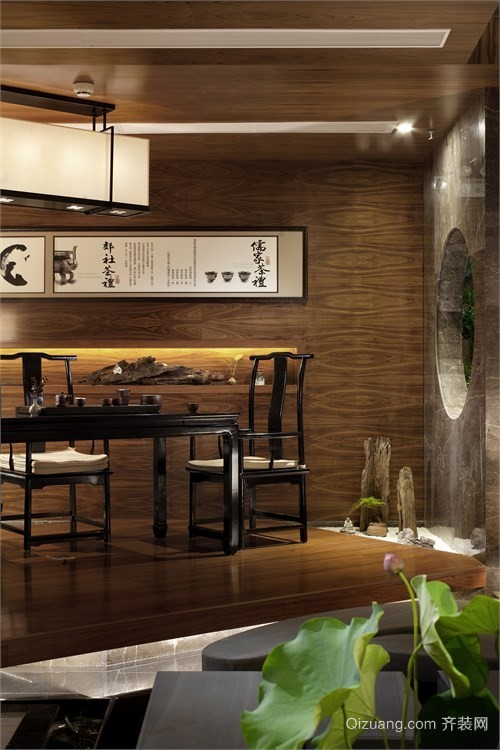 100平米中式茶馆装修效果图
