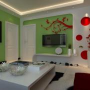 三居室客厅电视墙绿色款