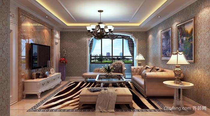 140平大户型简欧客厅装修效果图