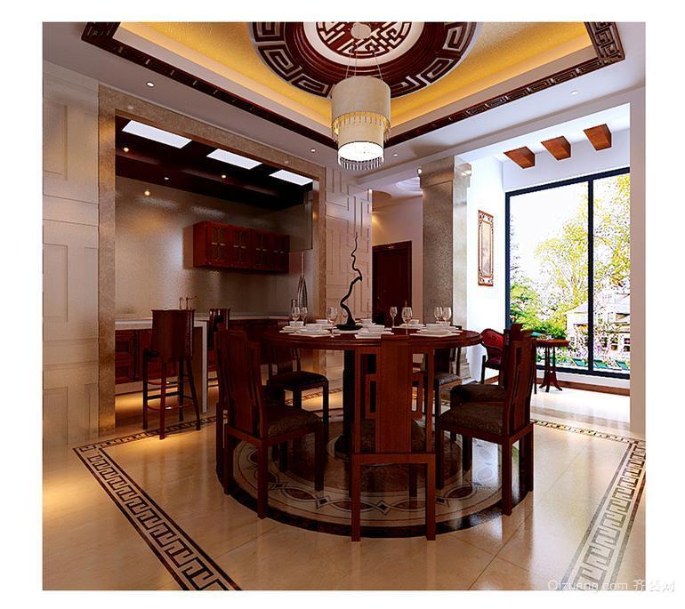 120平米现代中式餐厅装修效果图