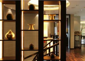 现代中式家装实木楼梯装修设计效果图