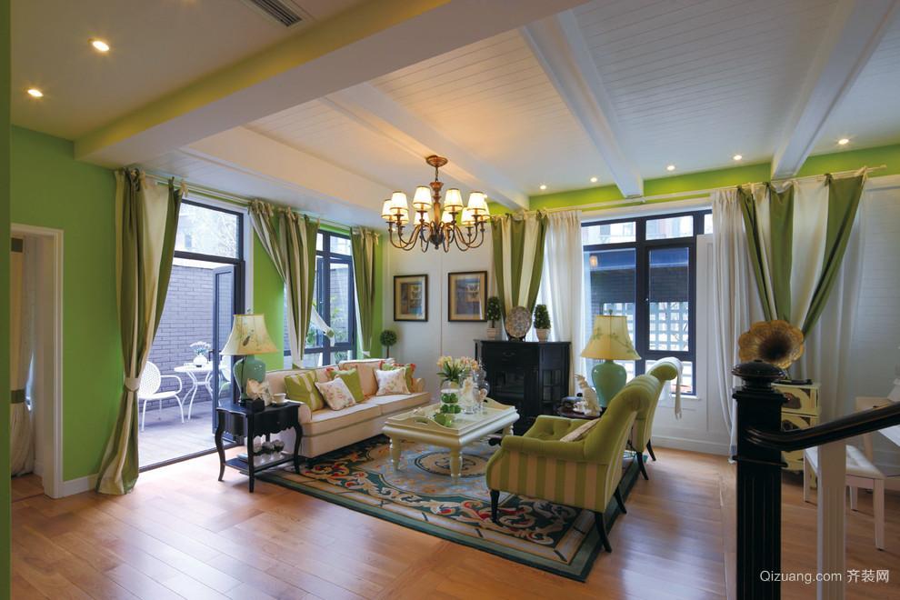 田园风格绿色色系客厅装修效果图