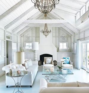 现代复式楼客厅吊顶装修设计效果图