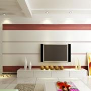 三居室客厅电视墙白色款