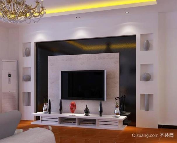 100平米房屋石膏板客厅电视背景墙装修效果图