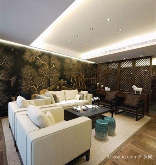 别墅中式客厅装修效果图