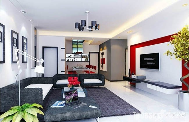 现代农村房屋100平米两室一厅客厅装修效果图