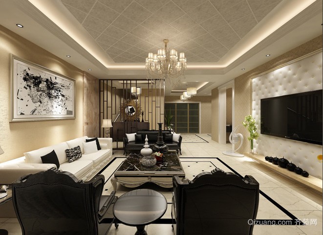 现代简约风格复式楼婚房装修效果图