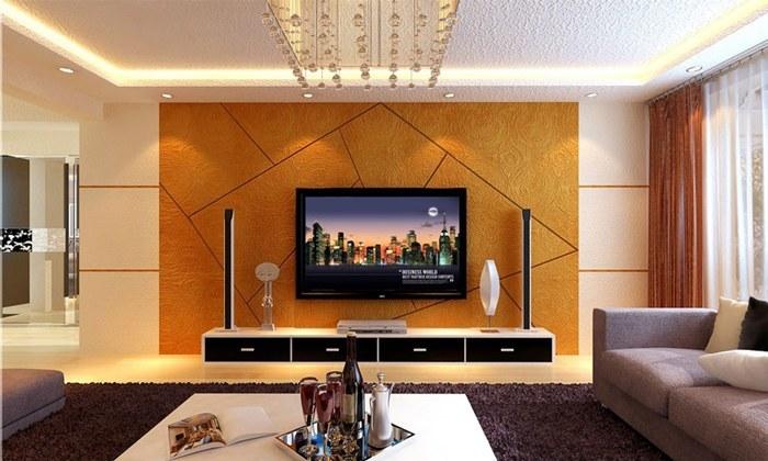 现代简约风格硅藻泥电视背景墙装修效果图