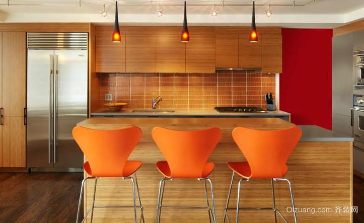 开放式厨房吧台椅装修效果图