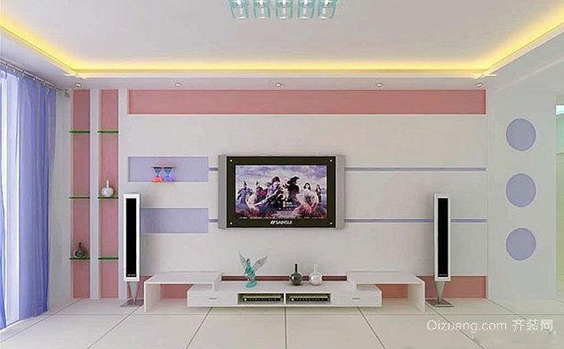 现代简约精致客厅电视背景墙装修效果图