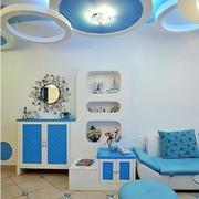 蓝色调儿童房效果图
