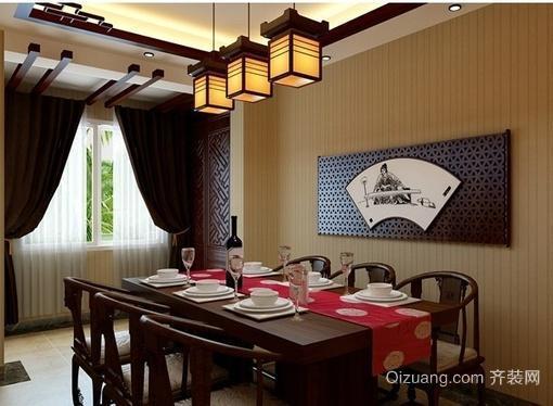 别墅古典中式餐厅背景墙