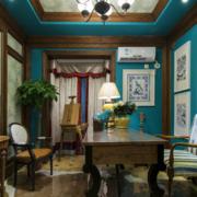 蓝色调书房装修图片