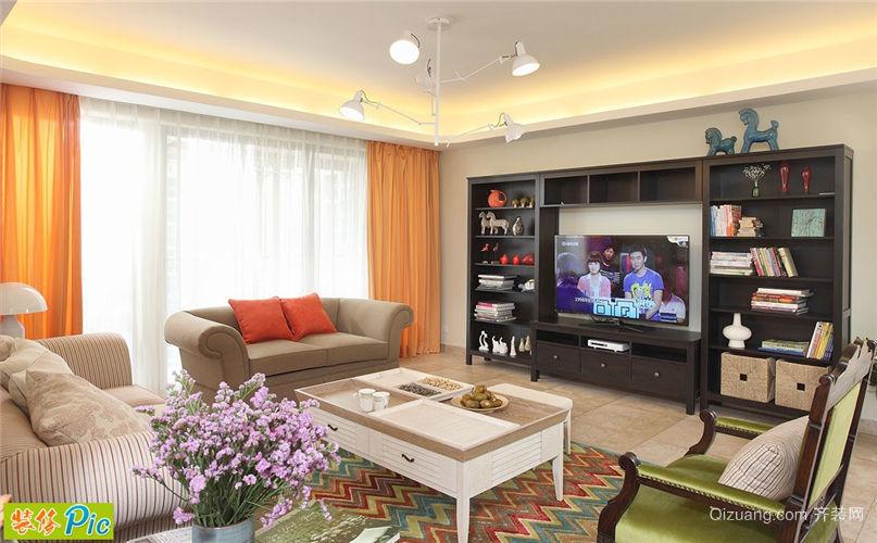 欧式别墅客厅电视柜背景墙装修效果图