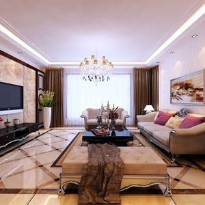 两室一厅简欧风格客厅吊顶装修效果图