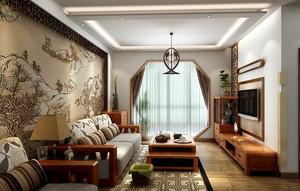 简约中式风格别墅客厅吊顶装修效果图
