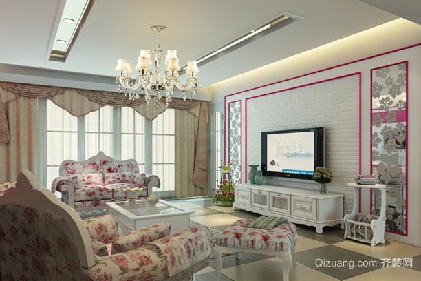 大户型新潮韩式客厅吊顶电视背景墙装修设计图