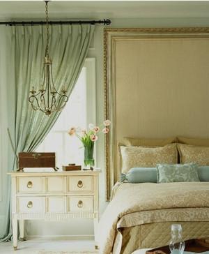 田园风卧室飘窗窗帘装修效果图