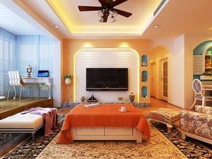 两居室韩式田园电视背景墙装修效果图