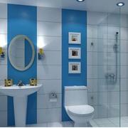 蓝色调卫生间效果图