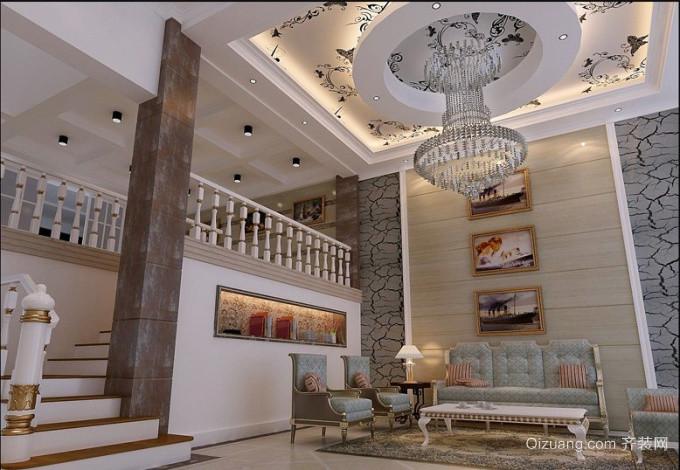 欧式大户型阁楼客厅过道吊顶装修效果图