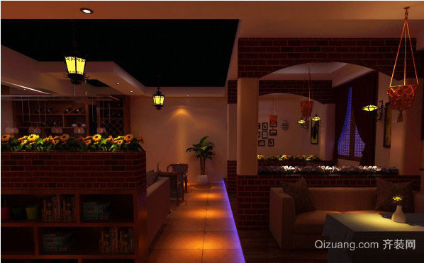 复古风格小资情调咖啡厅装修效果图