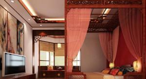 大户型东南亚风格卧室壁纸装修设计图