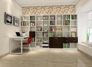 120平米欧式大户型客厅转角书柜背景墙装修效果图