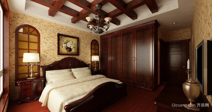 大户型美式古典风格卧室壁纸装修设计图