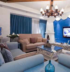蓝色调电视背景墙