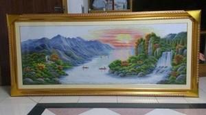 中式客厅十字绣山水图案系列大全