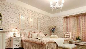 大户型田园风格卧室壁纸装修设计图
