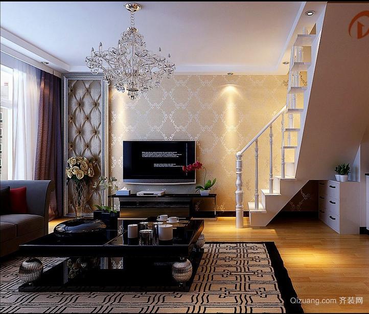 现代简约复式楼客厅吊顶装修效果图