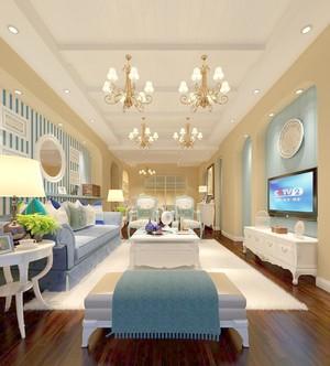 地中海风格120平米三室二厅客厅电视背景墙装修效果图