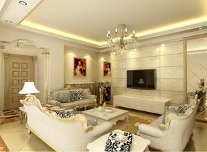 110平米大户型欧式客厅电视墙背景装修效果图