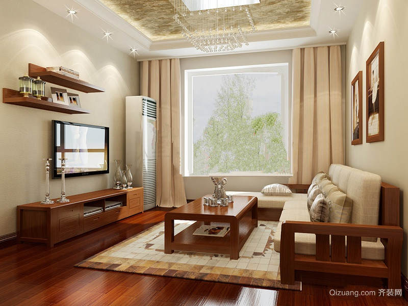120平米大户型中式家装客厅壁纸装修效果图