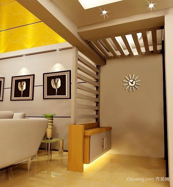 欧式单身公寓客厅进门玄关隔断装修效果图