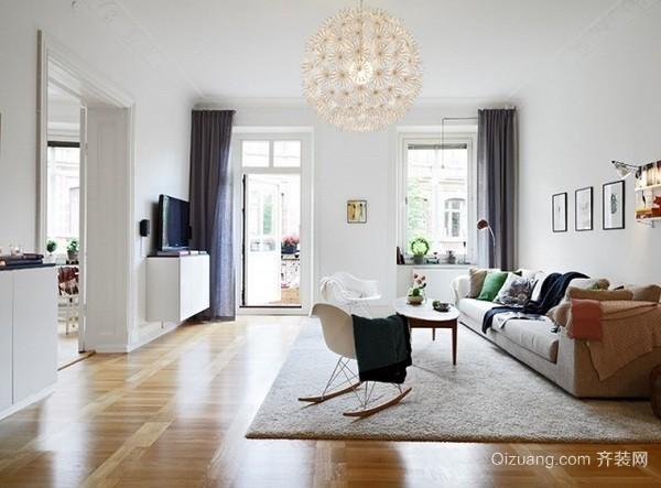 白色欧式风格单身公寓装修效果图