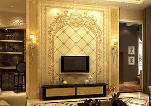三室一厅欧式客厅电视背景墙装修设计效果图