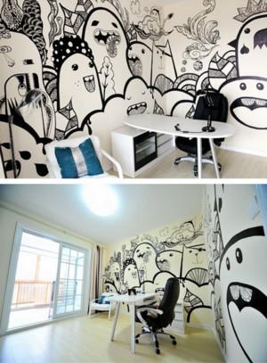 女性单身公寓创意墙体彩绘效果图