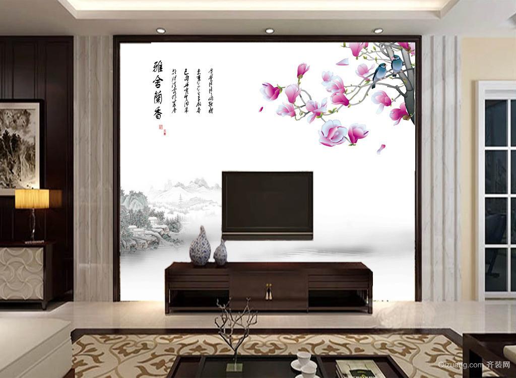 120平米大户型客厅电视瓷砖背景墙装修效果图