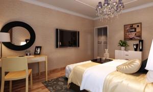 110㎡三居室简约欧式风格卧室背景墙装修效果图