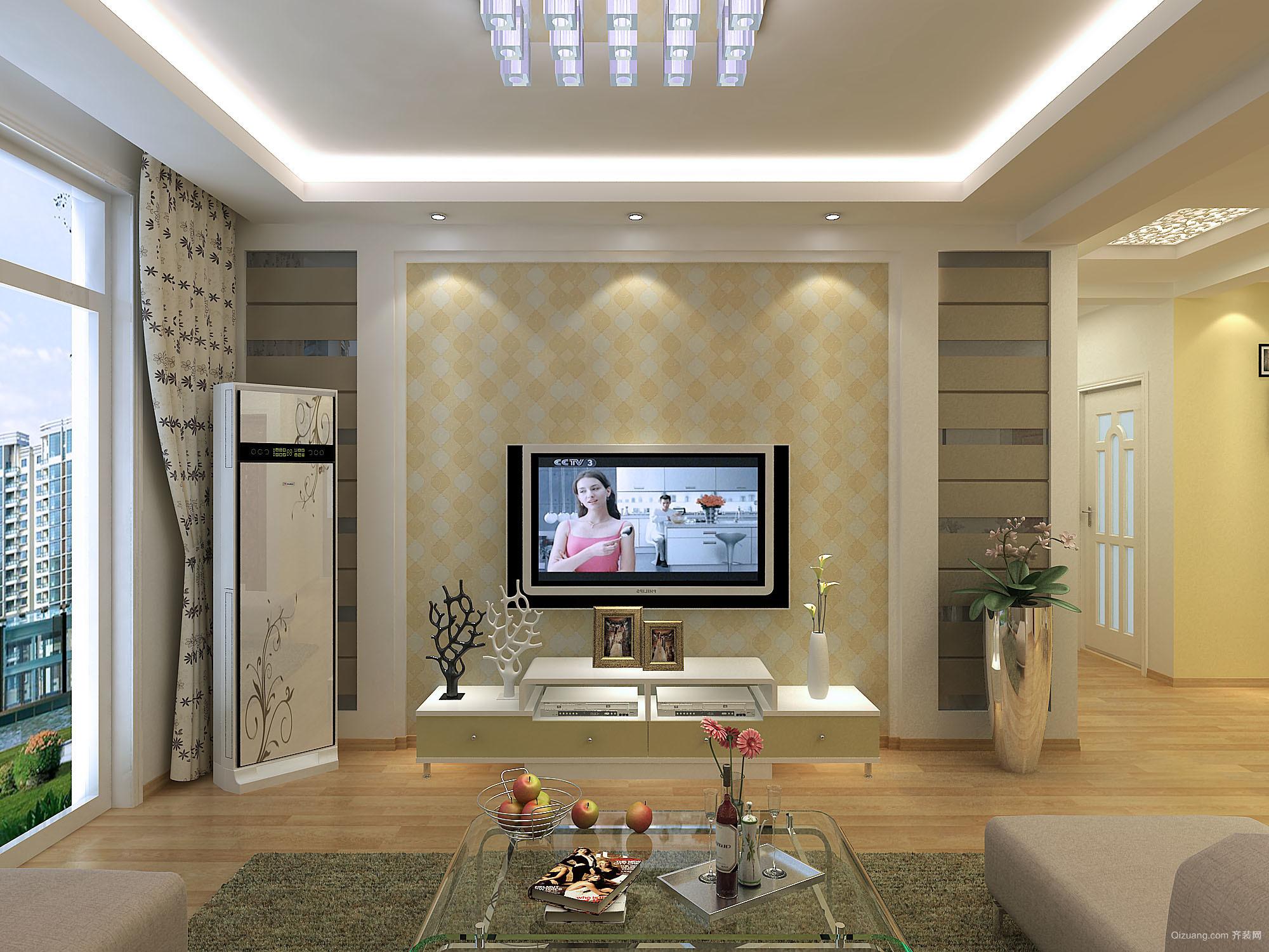 现代简约复式楼客厅吊顶装修效果图图片