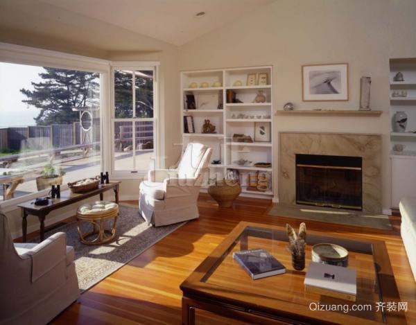 现代别墅客厅阳台飘窗装修设计效果图